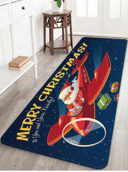 Plane and Santa Claus Printed Anti-skid Floor Rug -