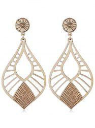 Vintage Wooden Hollow Out Drop Earrings -