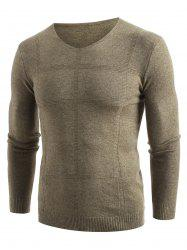 Solid V Neck Pullover Sweater -