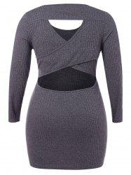 Plus Size Cut Out Bodycon Knit Dress -