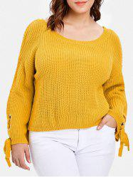 Lace Up Sleeve Plus Size Chunky Sweater -