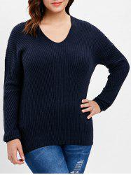 Plus Size Ribbed Back V Sweater -