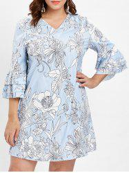 Layered Flare Sleeve Plus Size Floral Printed Shift Dress -