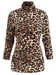 Long Sleeve Leopard Print T-shirt -