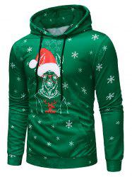 Deer with Christmas Cap Print Pullover Hoodie -