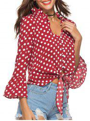 Polka Dot Button Flare Sleeve Blouse -