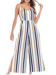 Striped Slit Backless Wide Leg Jumpsuit -