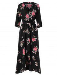 Floral Print Long Faux Wrap Dress -