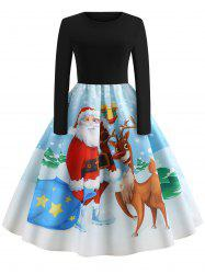 Christmas Vintage Santa Claus Elk Print Dress -
