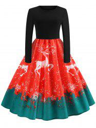 Christmas Elk Print Fit and Flare Dress -