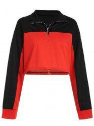 Two Tone Short Sweatshirt with Half Zipper -