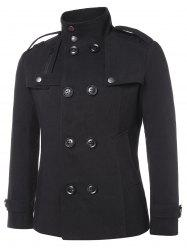 Solid Double Breasted Stand Collar Coat -