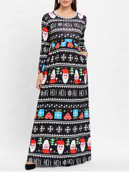 Christmas Plus Size Printed Long Dress -