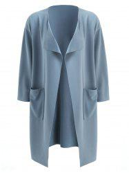 Front Pockets Turn Down Collar Coat -