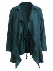 Turn Down Collar Plus Size Front Pockets Coat -