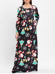 Plus Size Christmas Printed Maxi A Line Dress -