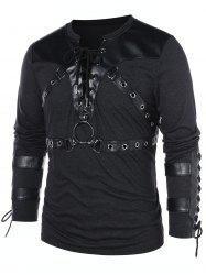 Lace Up Long Sleeve Casual T-shirt -
