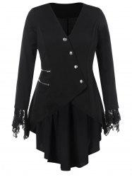 Lace Panel Plus Size High Low Coat -