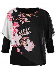 Plus Size Floral Overlay Tee -