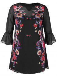 Plus Size Bell Sleeve Floral Print Shift Dress -