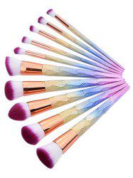 10Pcs Colored Handles Ultra Soft Travel Cosmetic Brush Suit -