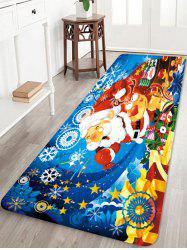 Cartoon Santa Claus and Elk Printed Christmas Floor Rug -