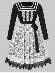 Plus Size Halloween Belted Lace Insert Dress -
