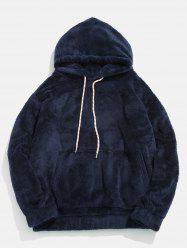 Pouch Pocket Patch Detail Fluffy Hoodie -