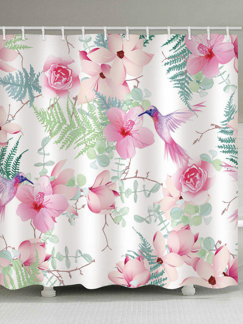 Best Flowers Leaves Bird Print Waterproof Shower Curtain