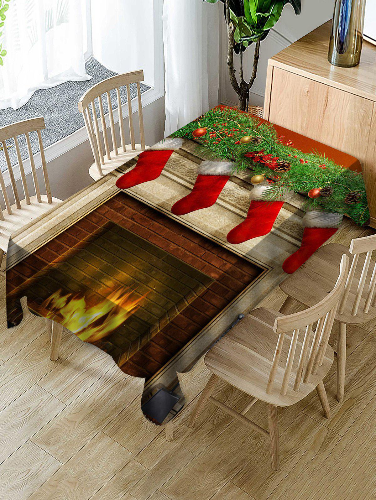 Buy Christmas Fireplace Print Waterproof Dining Tablecloth