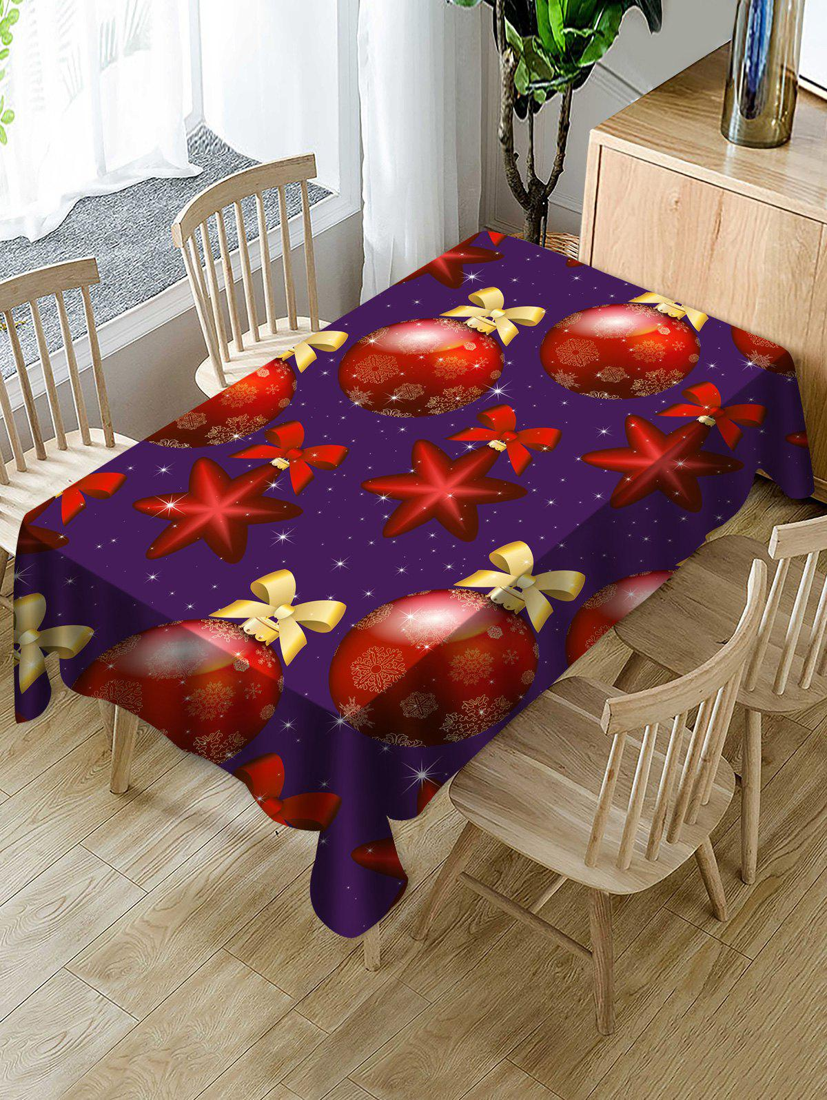 Outfits Waterproof Christmas Baubles Printed Dining Tablecloth