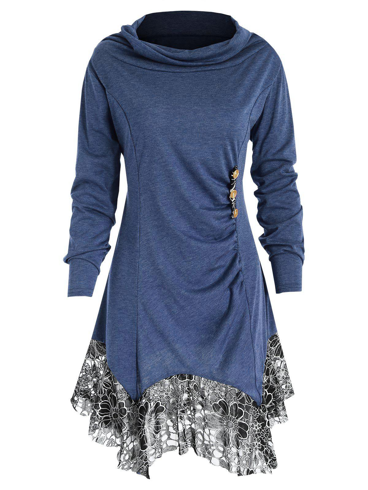 Trendy Full Sleeve Heap Collar Skirted T-shirt