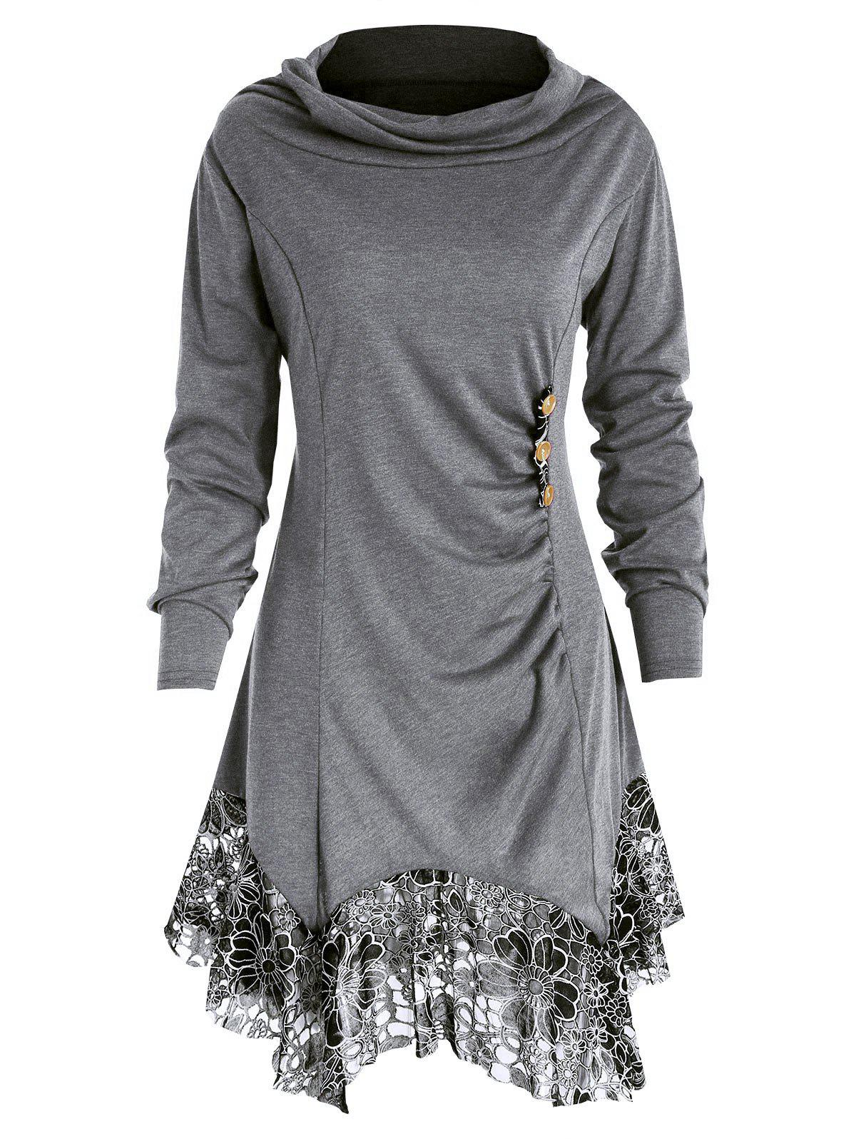 Shop Full Sleeve Heap Collar Skirted T-shirt