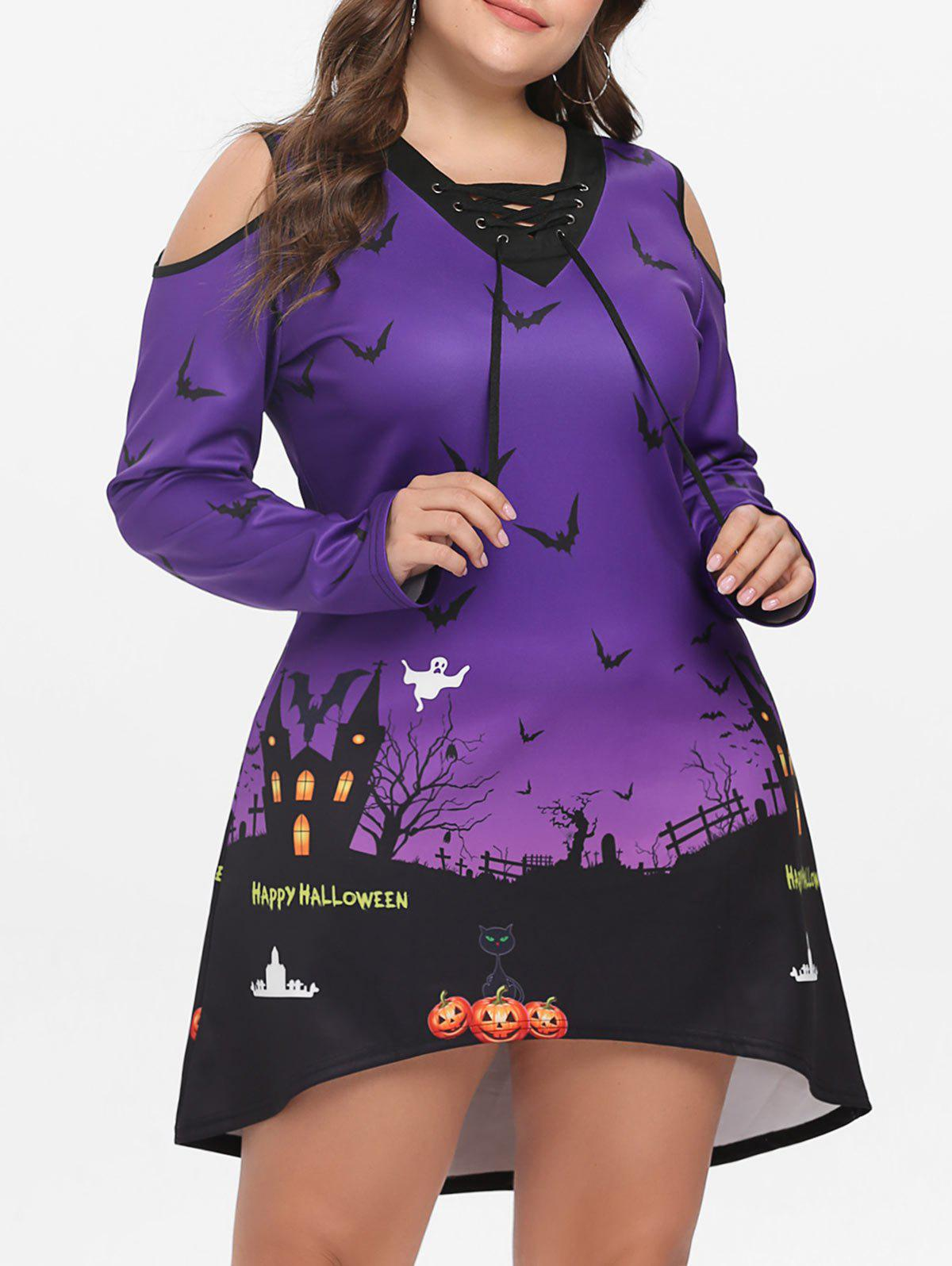Latest Plus Size Cold Shoulder Halloween Dress