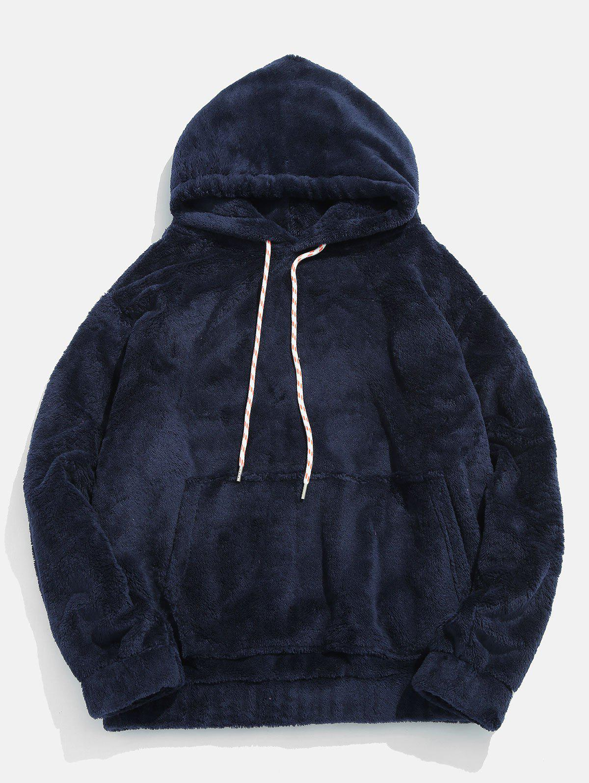 Affordable Pouch Pocket Patch Detail Fluffy Hoodie