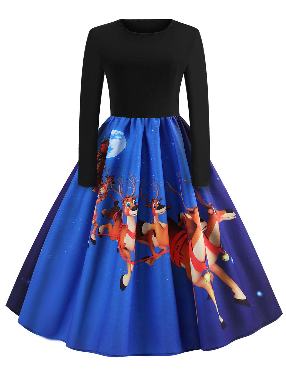 Outfits Christmas Elk Print Pin Up Dress