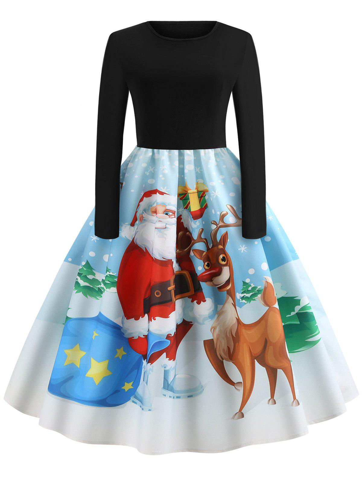 Latest Christmas Vintage Santa Claus Elk Print Dress