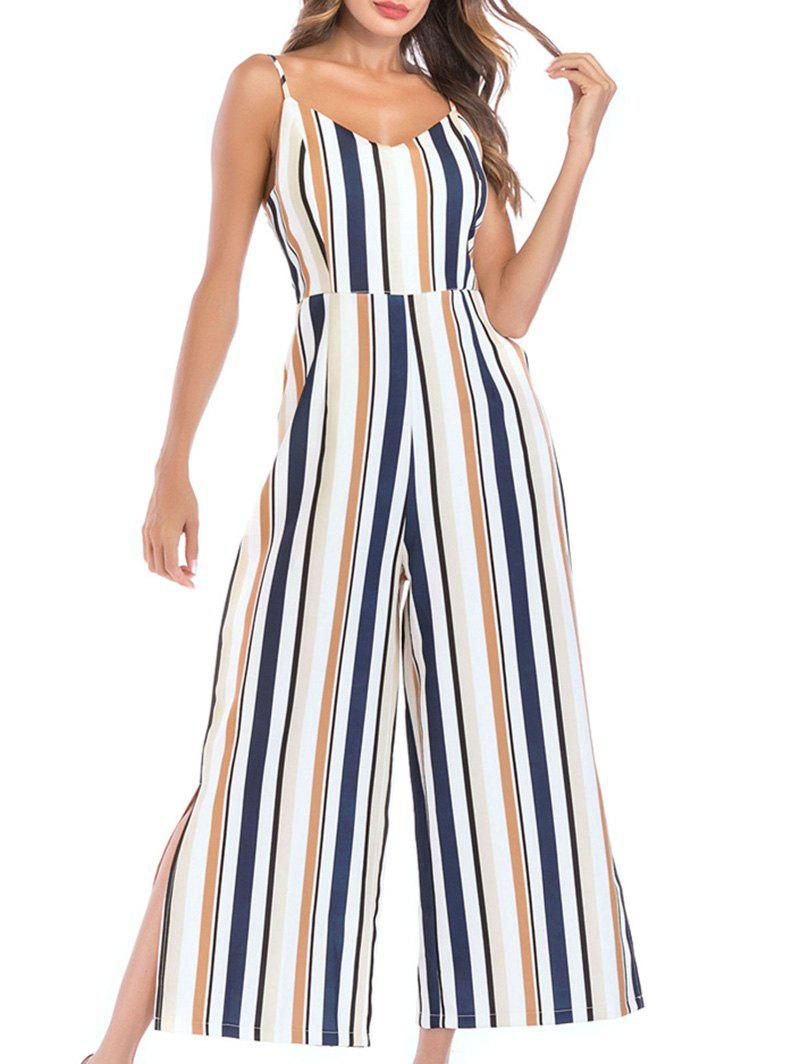 Discount Striped Slit Backless Wide Leg Jumpsuit