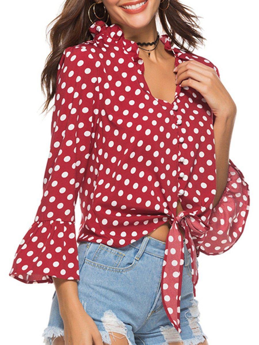 Cheap Polka Dot Button Flare Sleeve Blouse