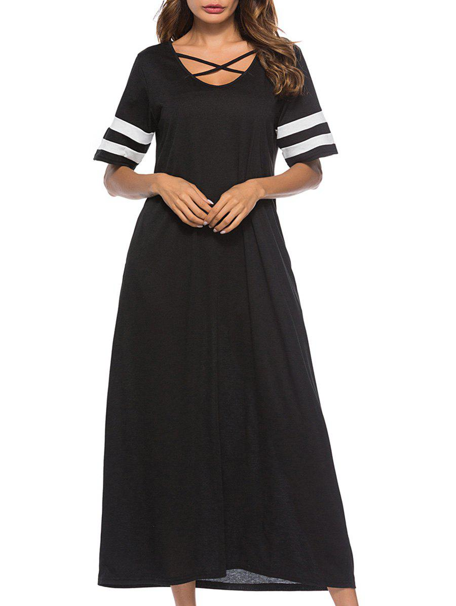 Hot Criss Cross Contrast Trim Maxi Dress