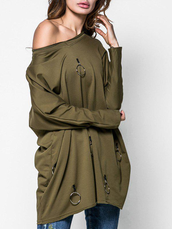 Outfit Metal Circle Longline Tunic Sweatshirt