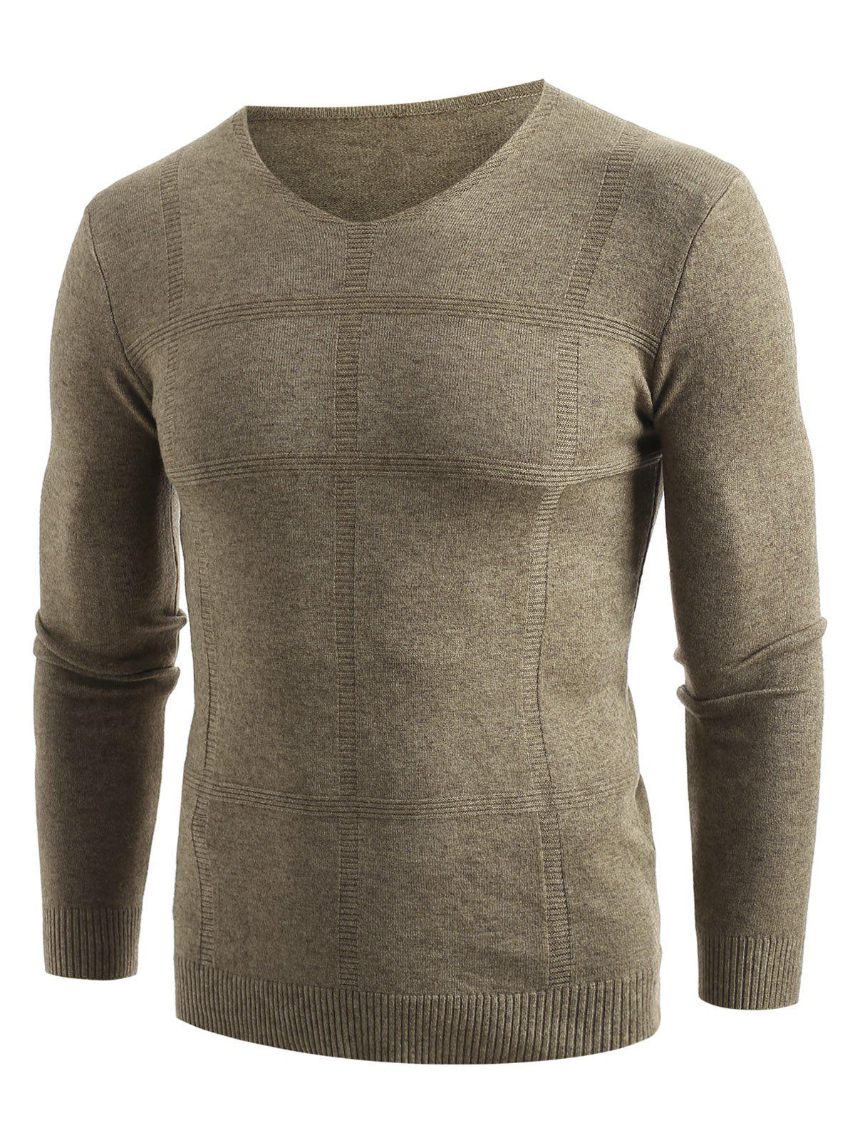 Fancy Solid V Neck Pullover Sweater