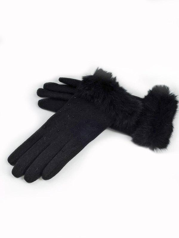 Store Winter Full Finger Solid Color Fuzzy Gloves
