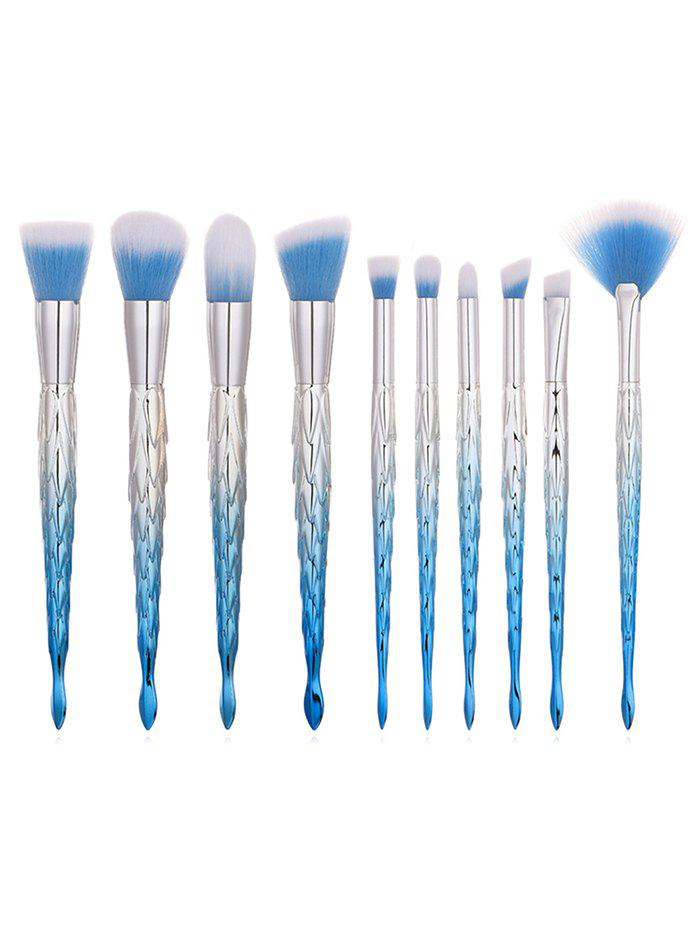 Shops 10Pcs Mermaid Handles Ultra Soft Foundation Blush Eyeshadow Fan Brush Collections