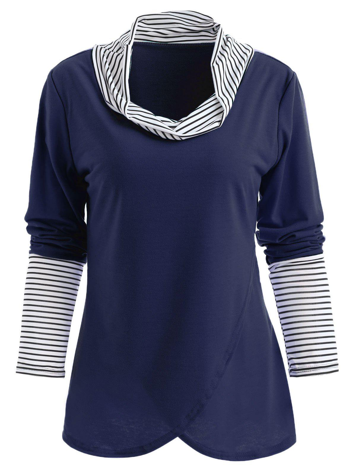 Affordable Stripe Insert Long Sleeve Tulip Front T-shirt