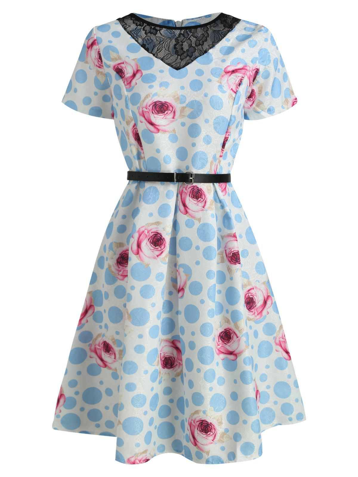 Shop Floral Print Belted Flare Dress