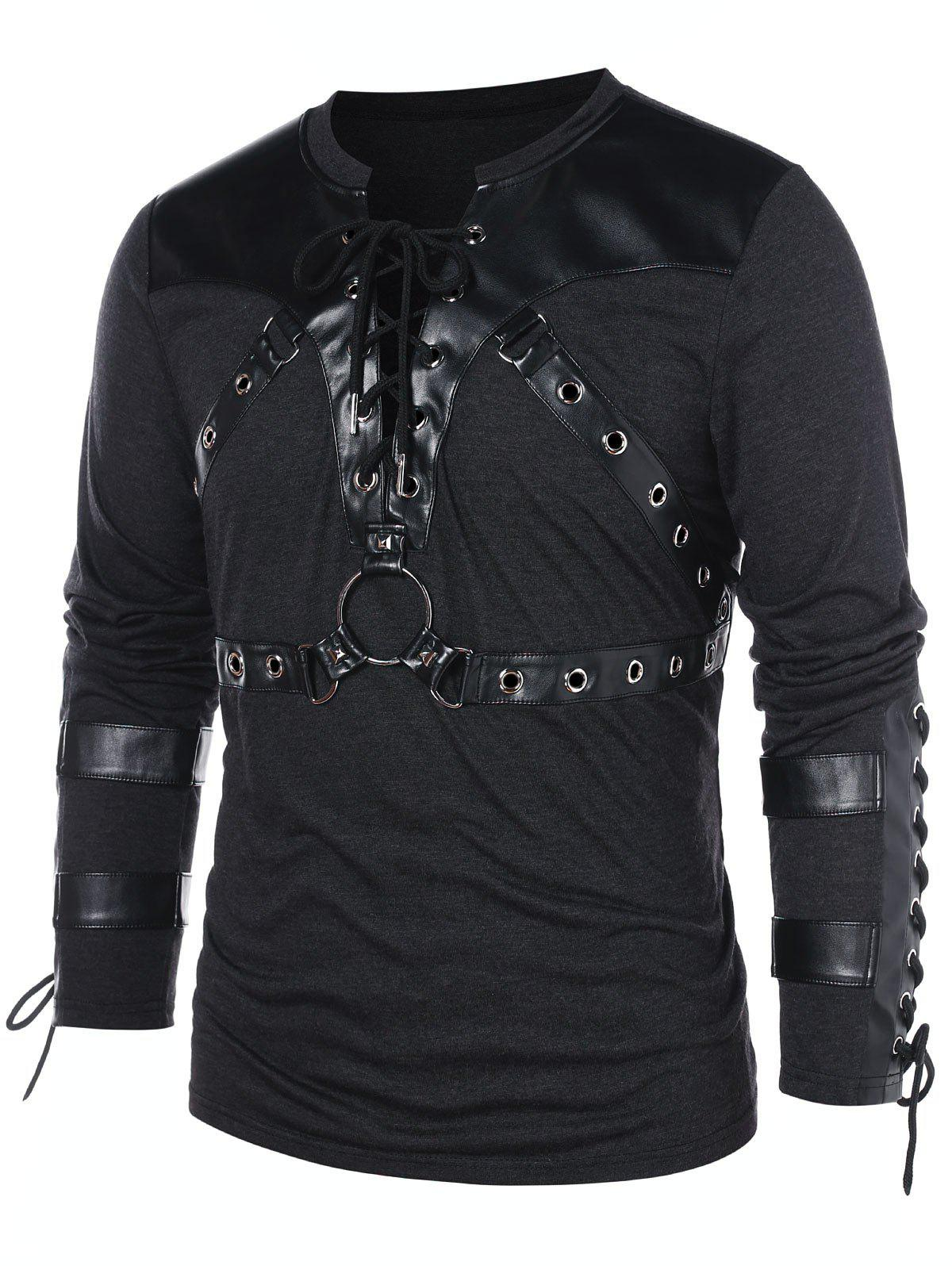 Shop Lace Up Long Sleeve Casual T-shirt