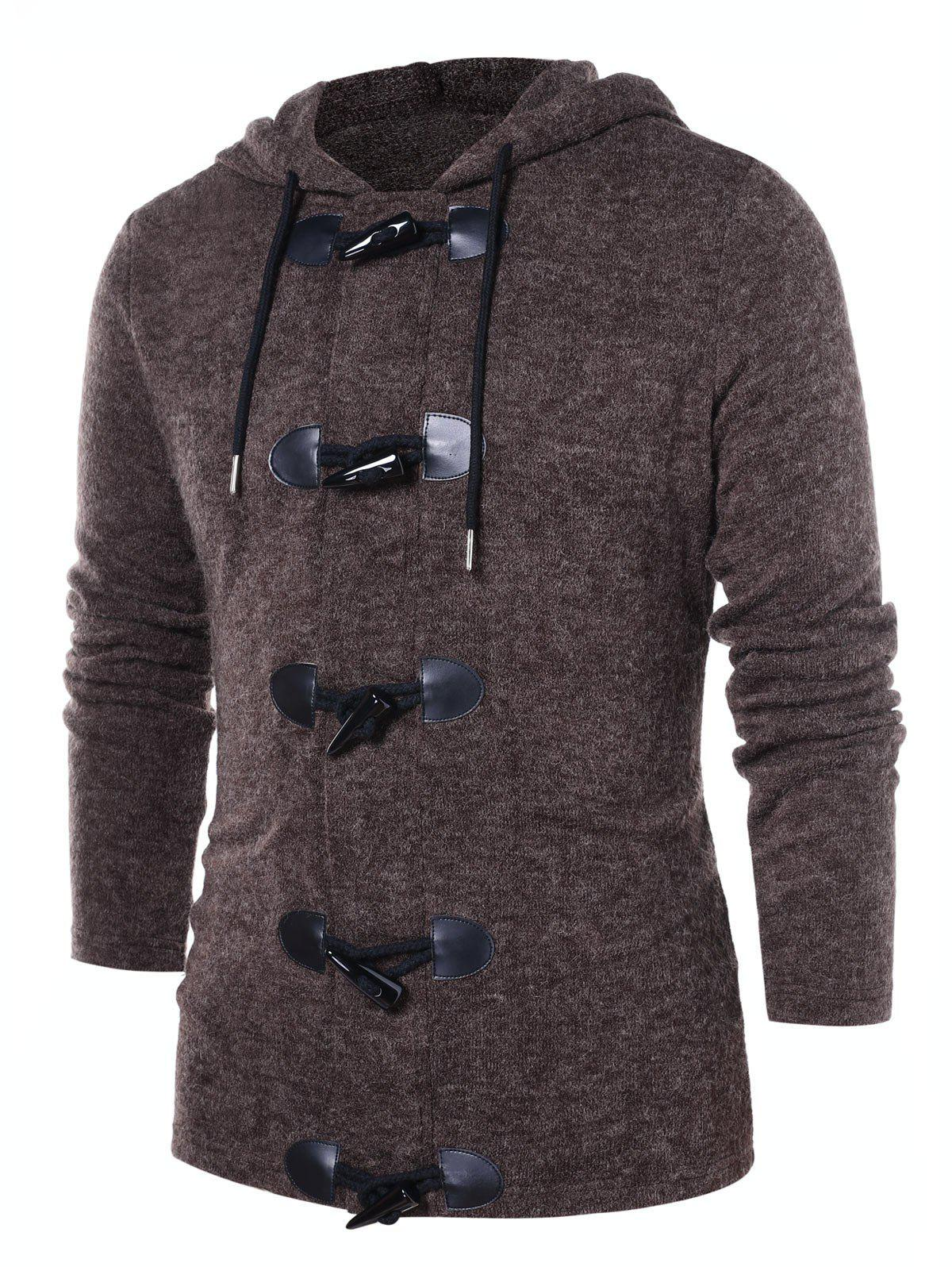 Sale Button Up Solid Color Hooded Coat