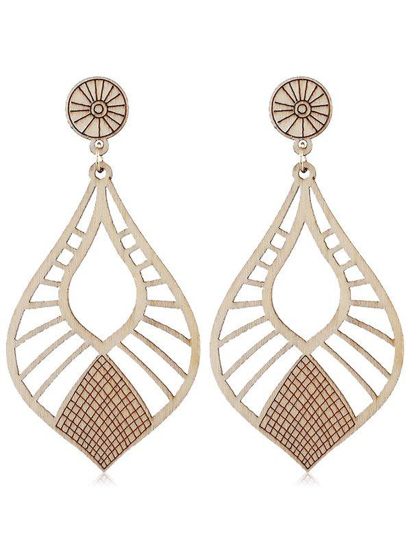 Discount Vintage Wooden Hollow Out Drop Earrings