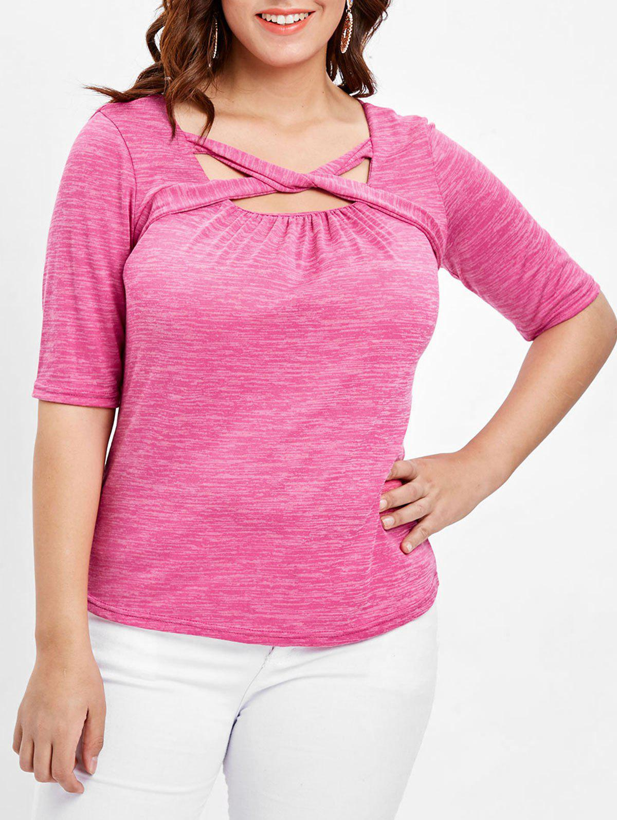 Buy Plus Size Marled Twist Front T-shirt